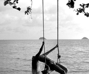 beach, black&white, and hammock image