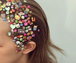 hair, stickers, and teen image