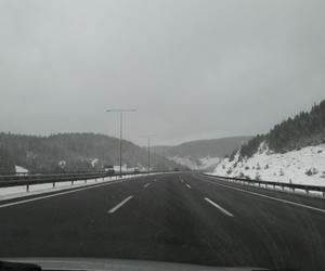grey, road, and snow image