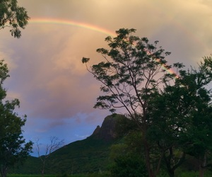 clouds, mauritius, and rainbow image