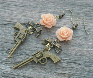 etsy, guns and roses, and rose jewelry image