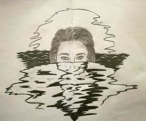 drown, pencil, and woman image