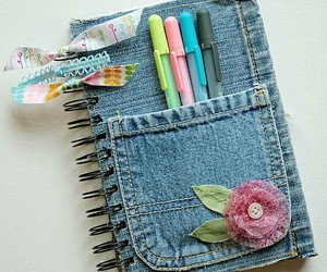 diy, notebook, and jeans image