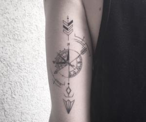 tattoo, arrow, and compass image