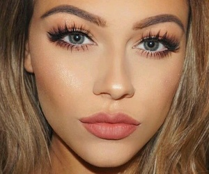 lashes, lipstick, and Nude image