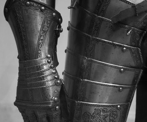 armor, black and white, and medieval image