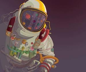 astronaut, galaxy, and moon image