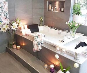 bathroom, flowers, and bath image