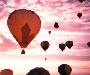 clouds, sky, and hot air balloon image