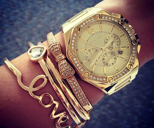 arm candy, gold, and hands image