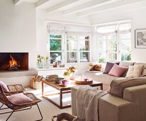 fireplace, livingroom, and soft colors image