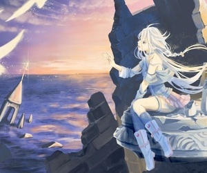 anime girl, blond hair, and sea image