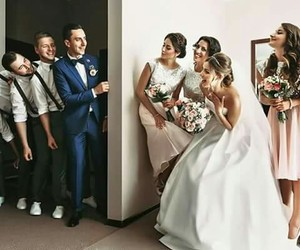 bride, groom, and wedding image