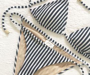 bikini, fashion, and stripes image