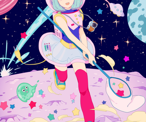 anime, kawaii, and space image