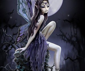 dark, moon, and fairy image