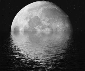 moon, night, and sea image