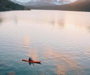 kayak, lake, and landscape image