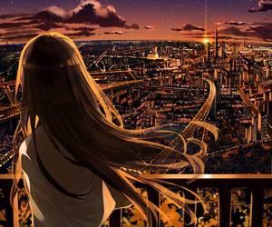 anime, anime girl, and city image