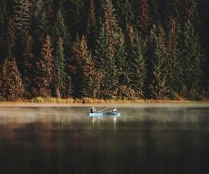 boat, kayak, and landscape image