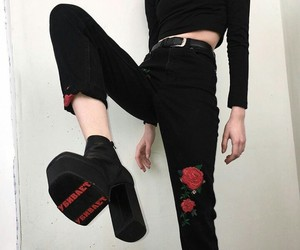 black, rose, and style image