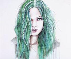 drawing, girl, and green image