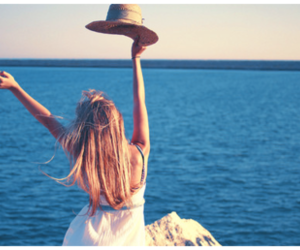 girl, sea, and hat image