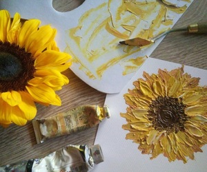 yellow, art, and sunflower image