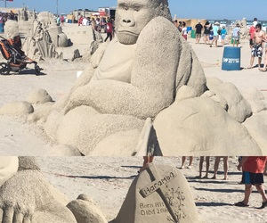 gorilla, sandcastle, and sad image
