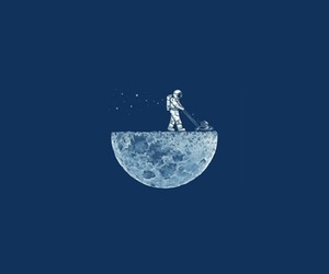 moon, astronaut, and blue image
