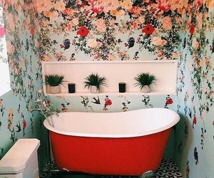 flowers, red, and bathroom image