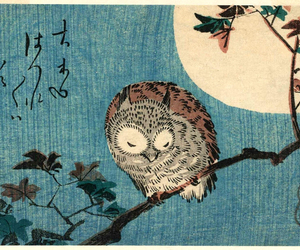 full moon, japan, and owl image