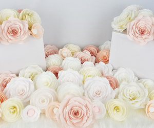 etsy, flower backdrop, and paper flowers image