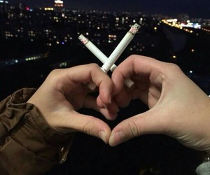 love, cigarette, and heart image