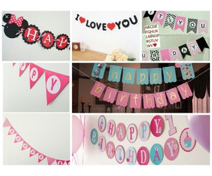 banner, birthday, and decorations image