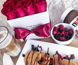 nutella, rose, and pancakes image