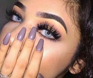 makeup, nails, and eyes image