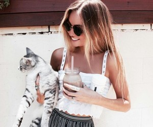 girl, cat, and fashion image
