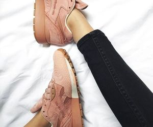 pink, skinny jeans, and sneakers image