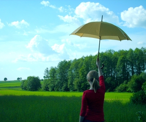 girl, nature, and umbrella image