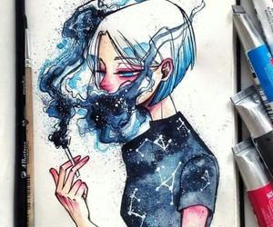art, blue, and galaxy image