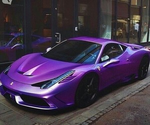 car, purple, and ferrari image