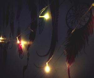 dream catcher, light, and night image