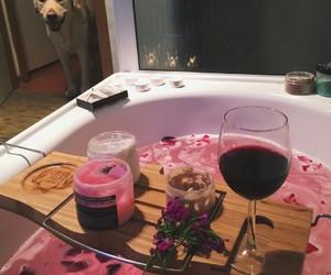 bath, candles, and dog image