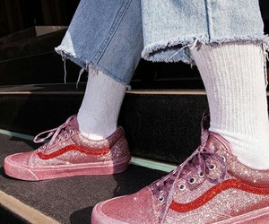 pink, vans, and glitter image