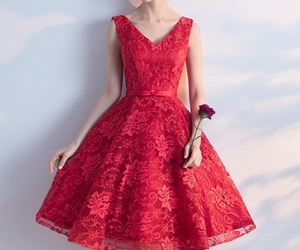 evening dress, red dress, and prom dress image