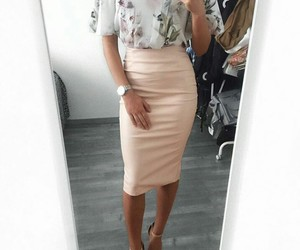blouse, flowers, and pencil skirt image