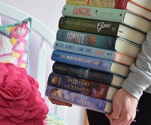 book, girl, and colors image