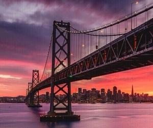 sunset, bridge, and city image