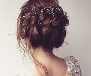 beauty, flowers, and hairstyle image